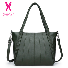 купить YANXI Women Casual Tote Bag Female Large Capacity Shoulder Messenger Bag High Quality PU Leather Weave Design Handbags for Women по цене 1784.59 рублей