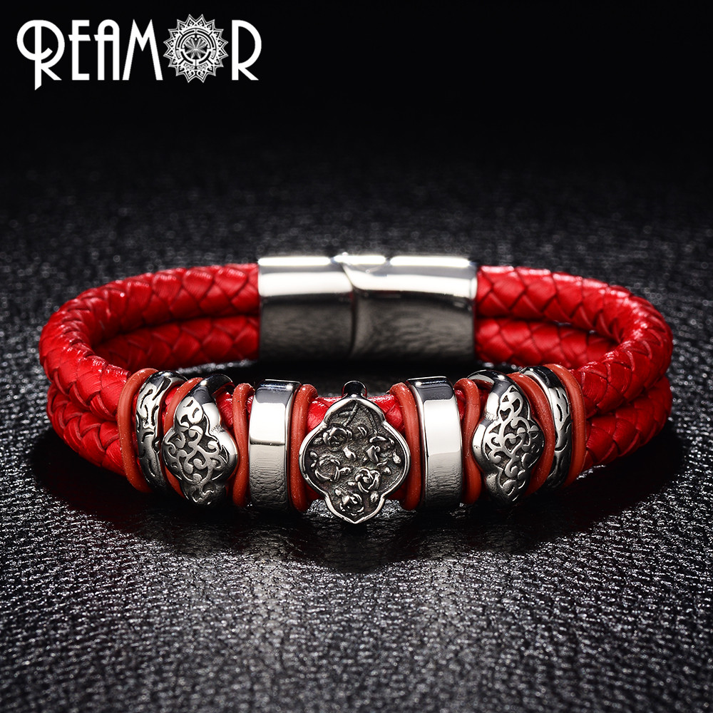 REAMOR 316L Stainless Steel Woman Bracelets Flower&Cloud Totem Bangles Trendy Double Braided Leather with Magnet Buckle Bracelet