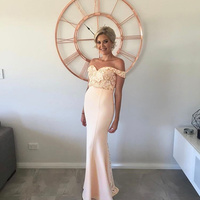 Beige Wedding Guest Bridesmaids Mermaid Party Gown Sweetheart Neck Off Shoulder Sleeves Stunning Full Length Maxi