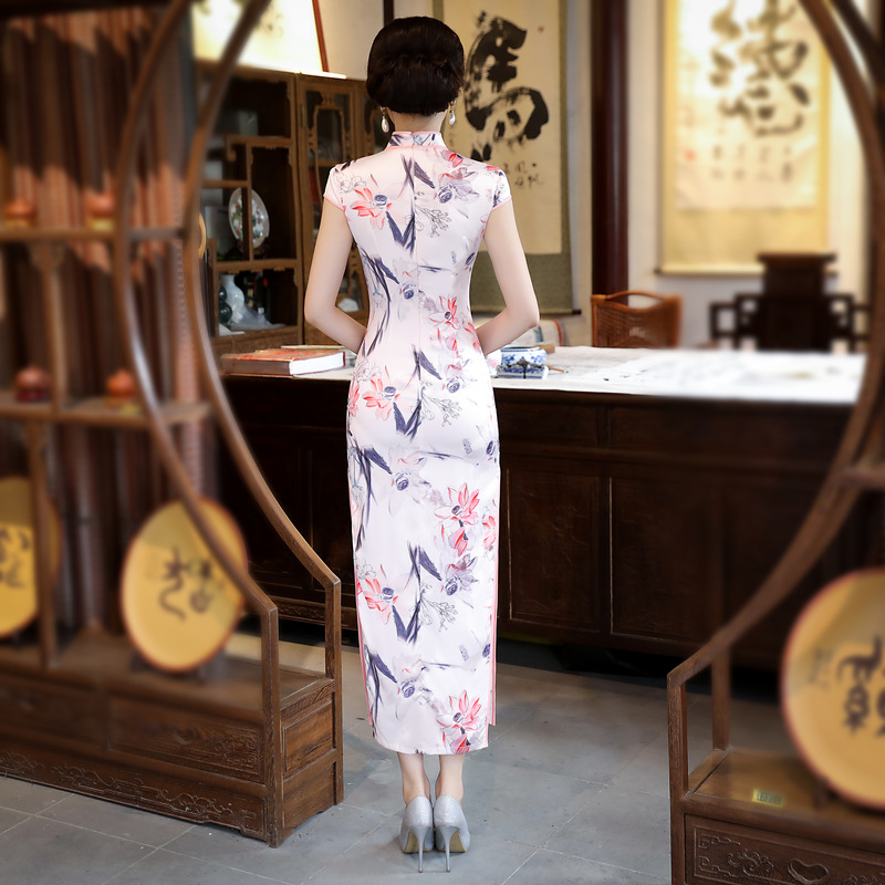 Chino tradicional cheongsam Satén de seda de señora vestido mujeres verano largo baile vestido - 2