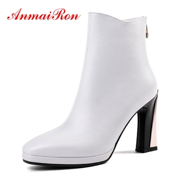 AnmaiRon   Basic  Square Toe  Winter Boots for Girls  Ankle  Boots  Botas Mujer Size 34-39 ZYL1433