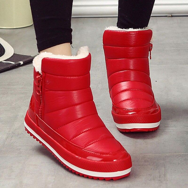 Botas de mujer de invierno de 2018 zapatos de mujer más Plantilla de Botas de nieve de alta calidad de piel tobillo Botas para mujer invierno impermeable Botas mujer