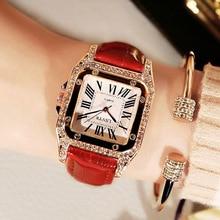 Luxury Ladies Dress Crystal Quartz Clock Leather Strap Watch Women Square Diamond Wrist Watches For Reloj Mujer Zegarek Damski