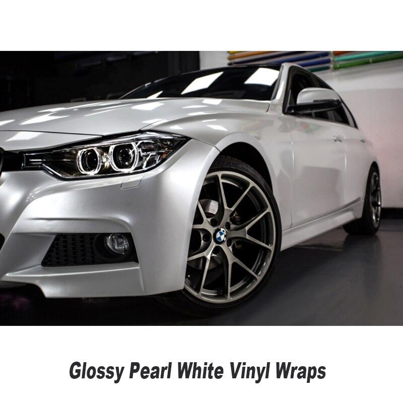 Brillant Perle Blanc Enveloppe de Vinyle Avec Bulle D'air Libre Brillant Pearlecent Film Pour Car Styling Véhicule Tuning Taille 1.52*20 M