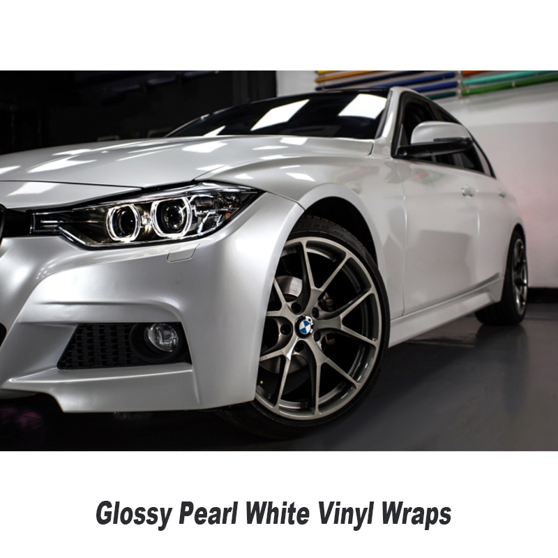 Glossy Pearl White Vinyl Wrap With Air Bubble Free Gloss Pearlecent Film For Car Styling Vehicle Tuning Size 1.52*20M high quality black glossy 2d carbon fiber vinyl air free bubble for vehicle wraps size 1 52 30m roll