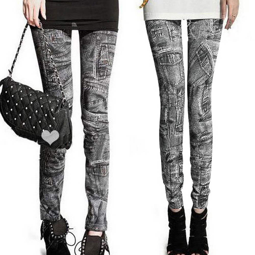 Free Shipping New Sexy Womens   Leggings   Jeggings Fashion tattoo Denim jeans Stretchy Skinny Pants