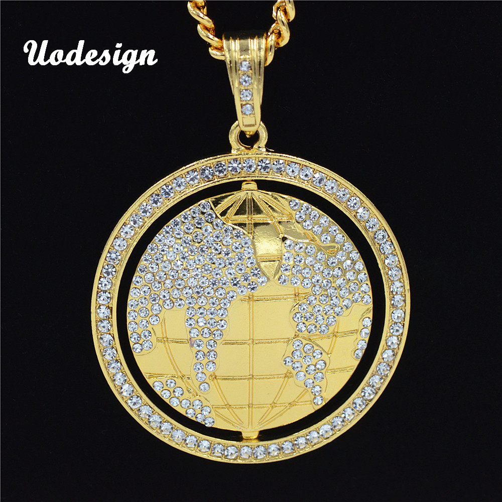 Uodesign Vintage Globe Earth Tellurion Cubic Zircon Hip Hop Pendant Necklace Chain Gold Color Christmas Gift For Rock Jewelry image