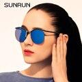 SUNRUN TOP QUALITY Mulheres Steampunk de Metal sem moldura Óculos De Sol Do Vintage Rodada Óculos de Sol das Mulheres de design da marca Óculos de sol Oculos 9727