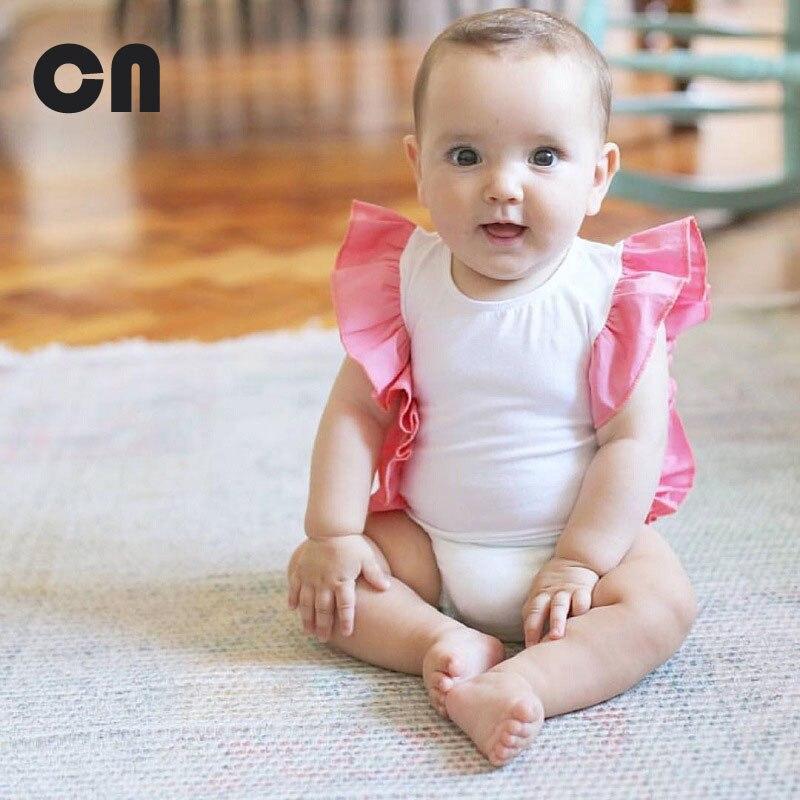 CN 2017 Nieuwe 0-2 jaar Baby meisje Body Zomer Mode Stikken Katoen - Babykleding