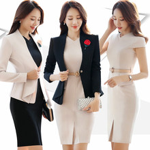 New Women's Dress Suits Summer Spring Elegant Solid Slim Formal Long-sleeve Blazer + Dress Sets Business Work Female(China)