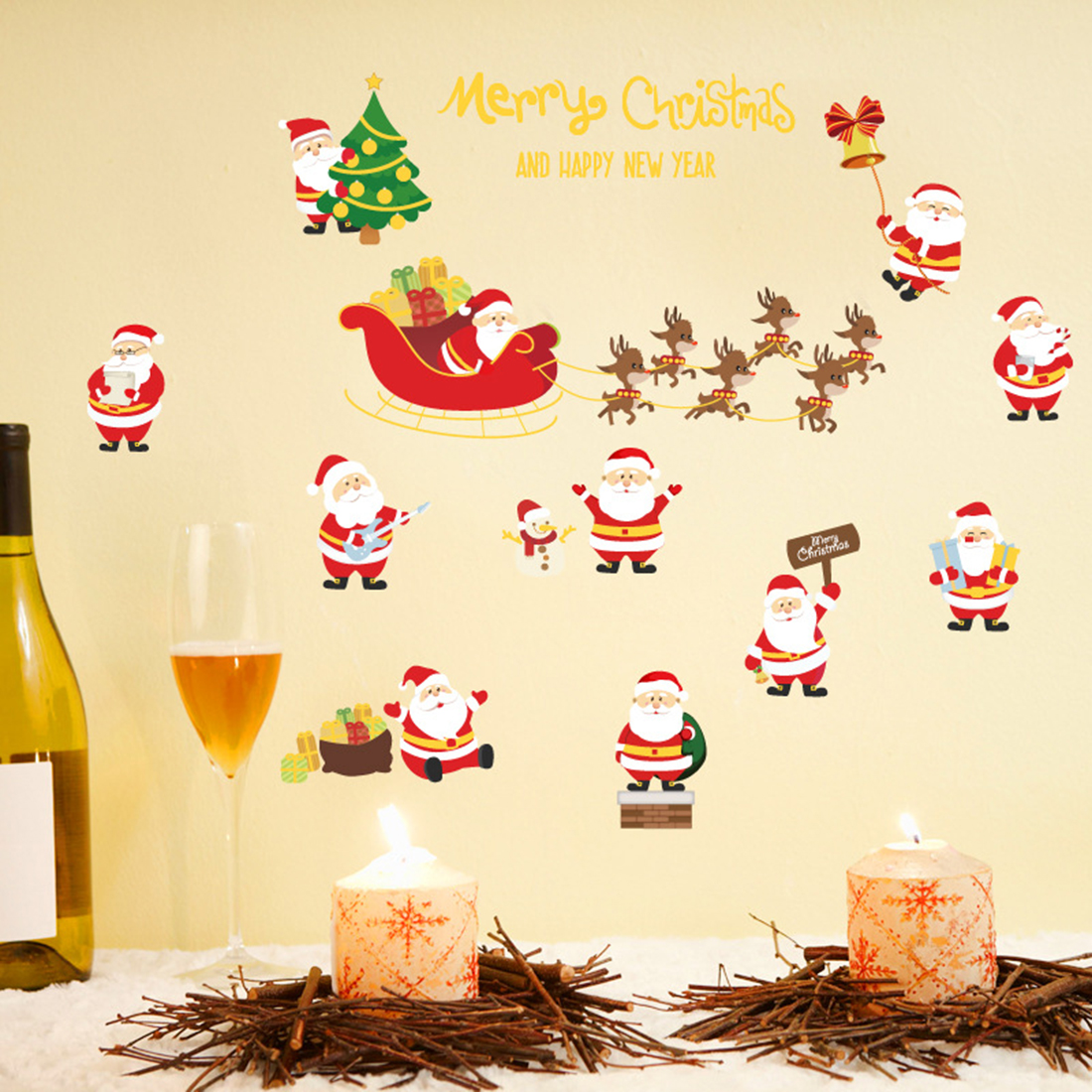 Merry Christmas Wall Stickers Santa Claus Tree Wall Decals Home Living Room Shop Door Window Glass Happy New Year Wall Stickers