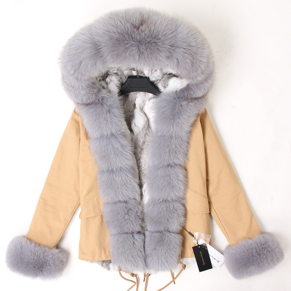 Image 5 - Natural rabbit fur lined with cotton fur coat winter female warm parkReal Fur   -