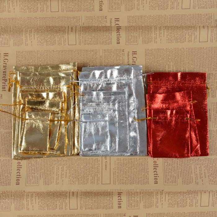 Bolsas de caja de dulces para invitados bolsa de joyería regalos de boda suministros de fiesta de cumpleaños manualidades DIY baby showers brillante dorado Wh