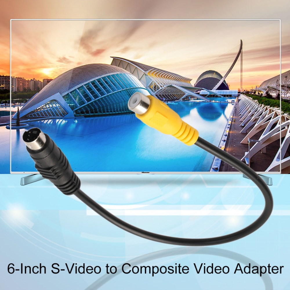 ᗖ6 Inch 4 Pin S-Video to Composite Video Adapter Cable Works with ...