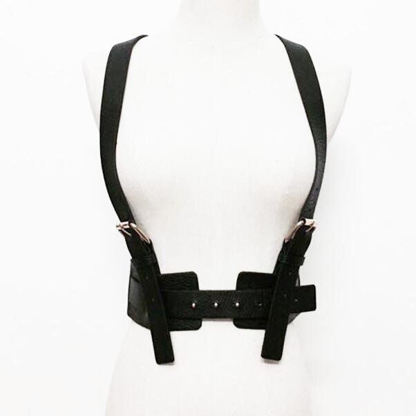 Marca rua Mulheres cinta de Couro Unisex Cinto Arnês de Corpo Gaiola Escravidão Cintura meta Cinto Ajustável Fivela de Cinto Garter Belt