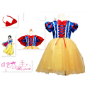 Hot Princess Snow White cosplay costume kids fancy dress with cape party performane suits for girl