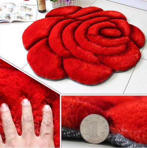 3D Rose en forme de tapis de soie coréen pour salon zone jardin style stretch fil tapis salle de bains chambre mariage tapis tapis de sol