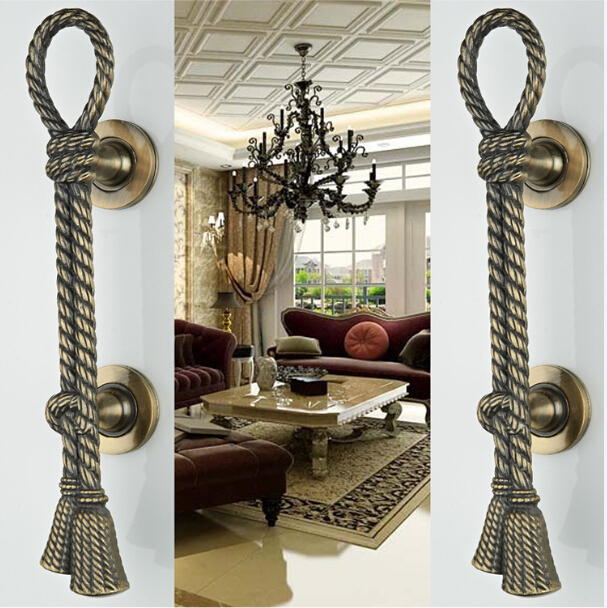 2 pcs european-style villa door shake handshandle archaize wooden door handle  KD-280