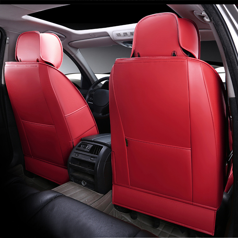 CARTAILOR Cowhide Leather Seat Covers Cars Styling For Jeep Patriot Car Cover Set Front Rear Seats Supports Protector Red In Automobiles