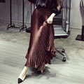 [XITAO] 2016 outono Elegante cor sólida Europa mulheres da moda império A Linha saia de cetim plissado tornozelo-comprimento da saia ECHE003
