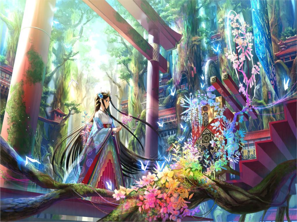 Living room <font><b>home</b></font> wall <font><b>decoration</b></font> fabric poster anime girls Fuji Choko black hair blue eyesbutterflies <font><b>Asian</b></font> architecture flowers