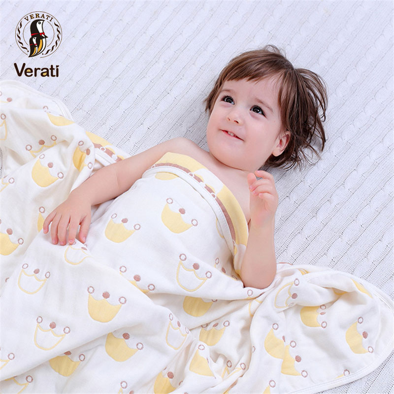VERATI Soft Cotton Cartoon Towel For Bathing Newborns Six Layer Of Gauze Strong Absorb Water Baby Bath Towel infant Blanket V031