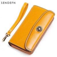 Sendefn Casual Split Leather Wallet Multi Functional Purse Cowhide Wallet Women Zipper&Hasp Lady Clutch monedero mujer 5157 68