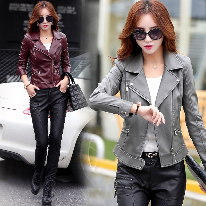 leather jacket women spring and autumn turndown collar leather coats women short design slim coat plus size 3XL,4XL 5XL gray,red ...