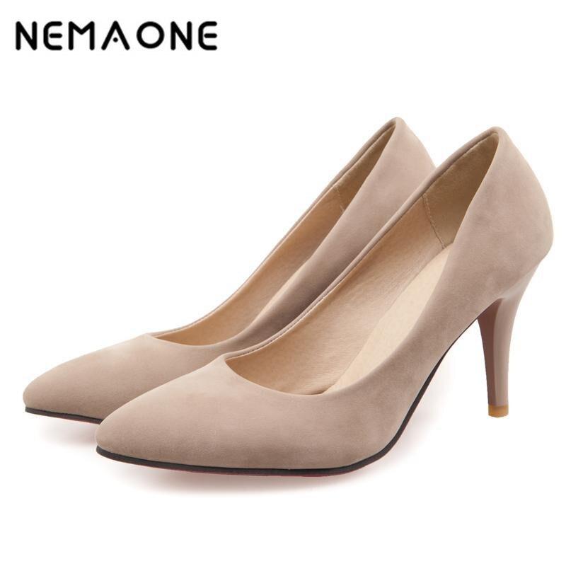 NEMAONE Brand New Hot Fashion Women Nude Pumps Black blue Beige Ladies High Heels Shoes Breathable Plus Big Size 32 43