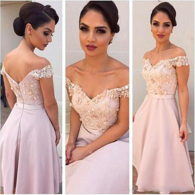 Vestido Madrinha Beach Wedding Guest Dresses 2017 Elegant Off Shoulder Bridesmaid  Dresses A Line Knee Length