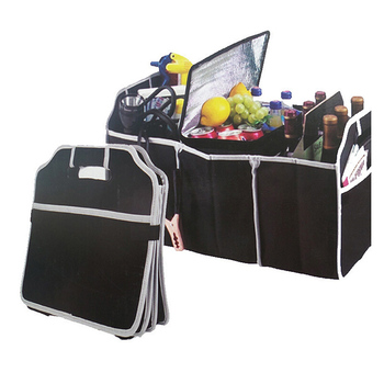 Collapsible Black Car Trunk Organizer Toys Food Storage Bag Truck Cargo Container Bags Box Car Stowing Styling Auto Accessories image