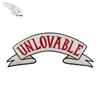 Music Band Unlovable Logo Patch White Twill Fabric 75 Embroidered Iron On Back Of Jacket Free