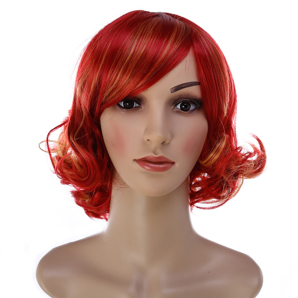 Fashion Headwear Red Short Curly Gothic Women Cosplay Party Hair Synthetic Heat Resistant+Cap