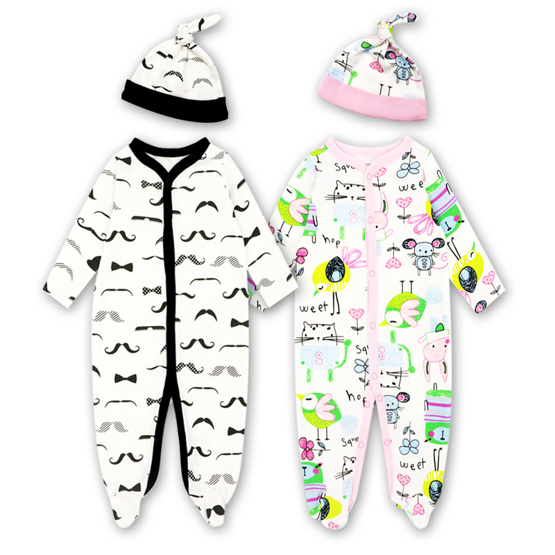 Tender Babies Boy girl   rompers   Soft long sleeve Cartoon Animal infantil newborn baby clothes white cotton infant jumpsuit + Hat