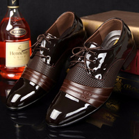 Designer Leather Shoes Men 2018 New Arrival Wedges Sneakers Bling Solid Black And Brown Dress Shoes