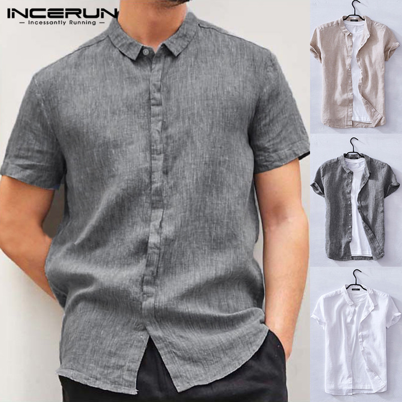 INCERUN Chinese Style Loose Tops Summer Thin Section Youth Slim Men's Short Sleeved Linen Shirt Cotton Linen Camisa Masculina