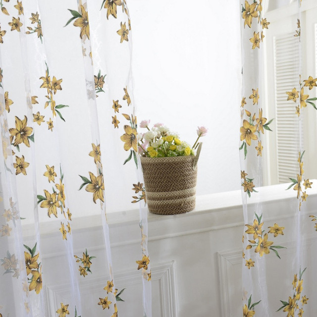 1xSheer Tap Top Floral Leaf Print Curtain Window Living Room Drapes Tulle Curtains Panel