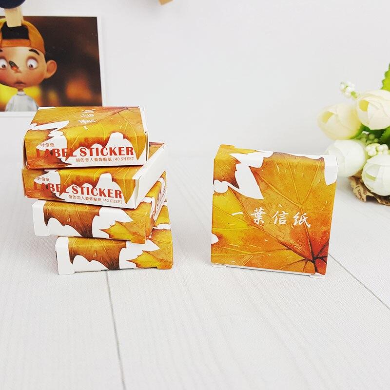 Купить с кэшбэком 40pcs/lot autumn leaves  mini box paper sticker Decoration DIY Scrapbooking Sticker Stationery office kawaii label stickers