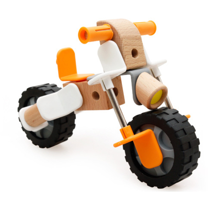 educational baby early learning educational wooden car nut building blocks motorcycle model birthday gift kids toys for children