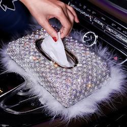 Nowe luksusowe perły pudełko na chusteczki do samochodu kryształowy diament blok typu pudełka na chusteczki uchwyt dla kobiet ręcznik papierowy pokrywy skrzynka Car Styling w Pudełka na chusteczki od Samochody i motocykle na