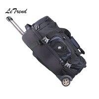 Letrend Büyük Kapasiteli Omuzlar Seyahat Çantası 27/32 inç Öğrenci Haddeleme Bagaj Sırt Çantası Erkekler Iş Arabası Bavul Tekerlek