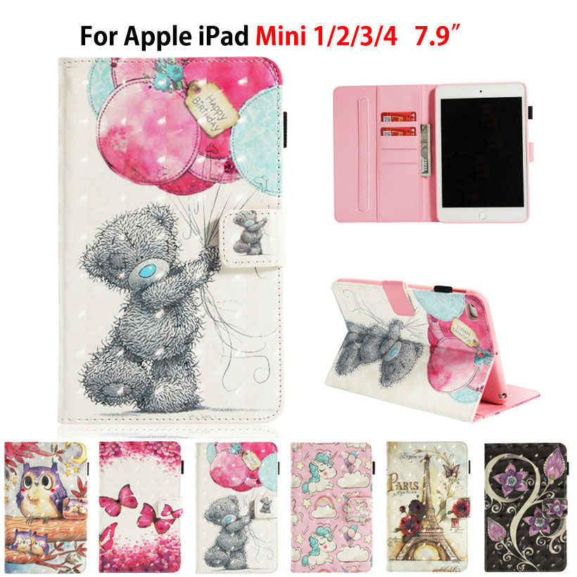 Case Voor Apple iPad Mini 1 2 3 4 7.9 inch Smart Cover Funda Tablet Siliconen PU Lederen 3D Geschilderd stand Capa Huid Shell Coque