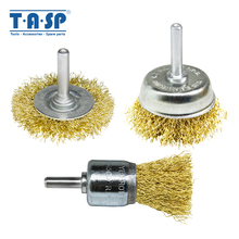 TASP 3pcs Wire Brush Set Copper Plated Crimped Steel Wheel Cup End Cleaning Tool with 6mm Round Shank for Drills