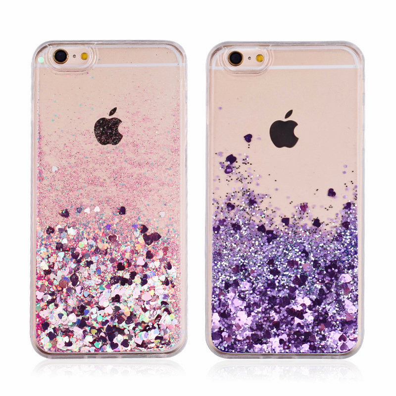 Galleria fotografica XINKSD Love Heart Stars Glitter Stars Phone Case For iPhone8 X 5 5S SE 6 6S 7 Plus Dynamic Liquid Quicksand Soft TPU Back Cover