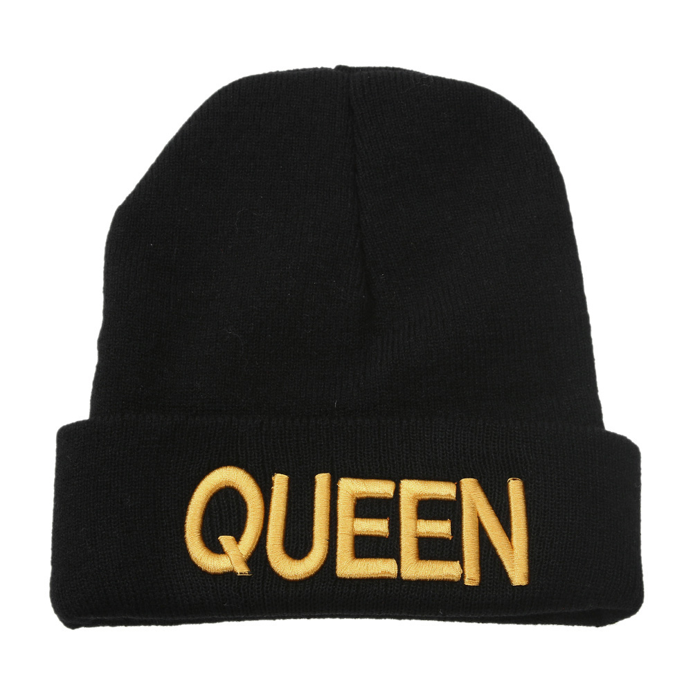 King Queen Beanie Winter Hats Cap Men Women Unisex  Hat Warm Knit  Hip-hop Cap Mittens hot sale Free shipping skullies hot sale candy colored knit cap sleeve head cap hip hop tide baotou cap 1866717