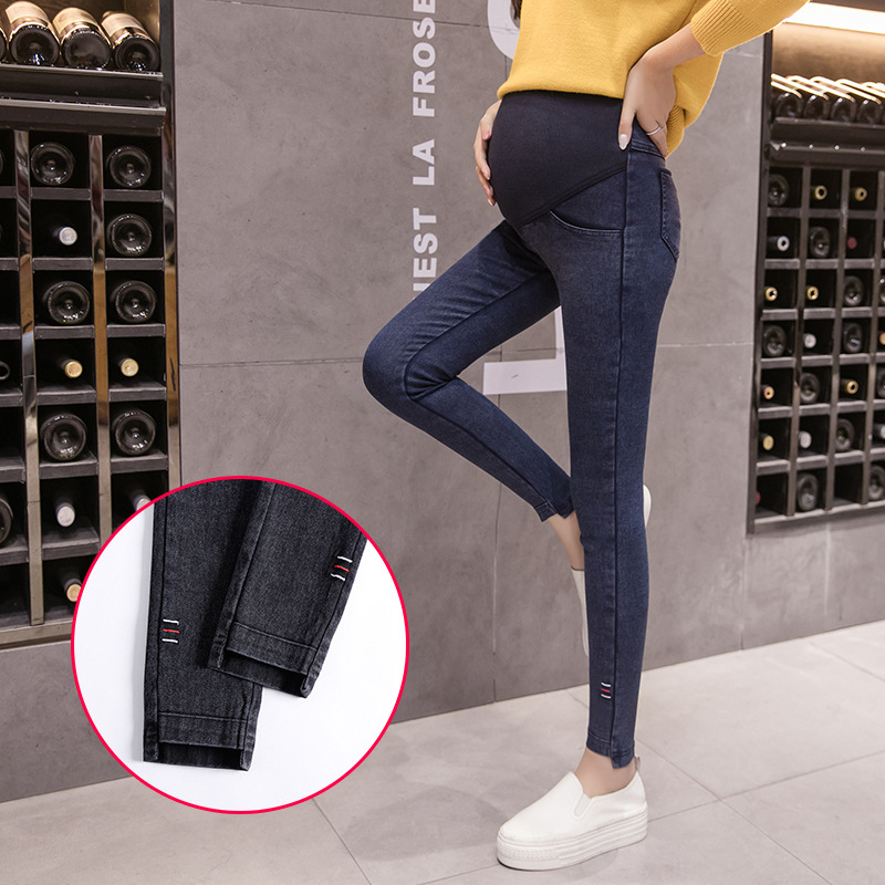 Jeans Pregnant Women Elastic Stretchy Cotton Denim Pencil Pants Maternity Trousers Elastic Waist Comfortable Plus Size Clothing autumn women fashion jeans high waist button denim jeans full length pencil pants feminino trousers