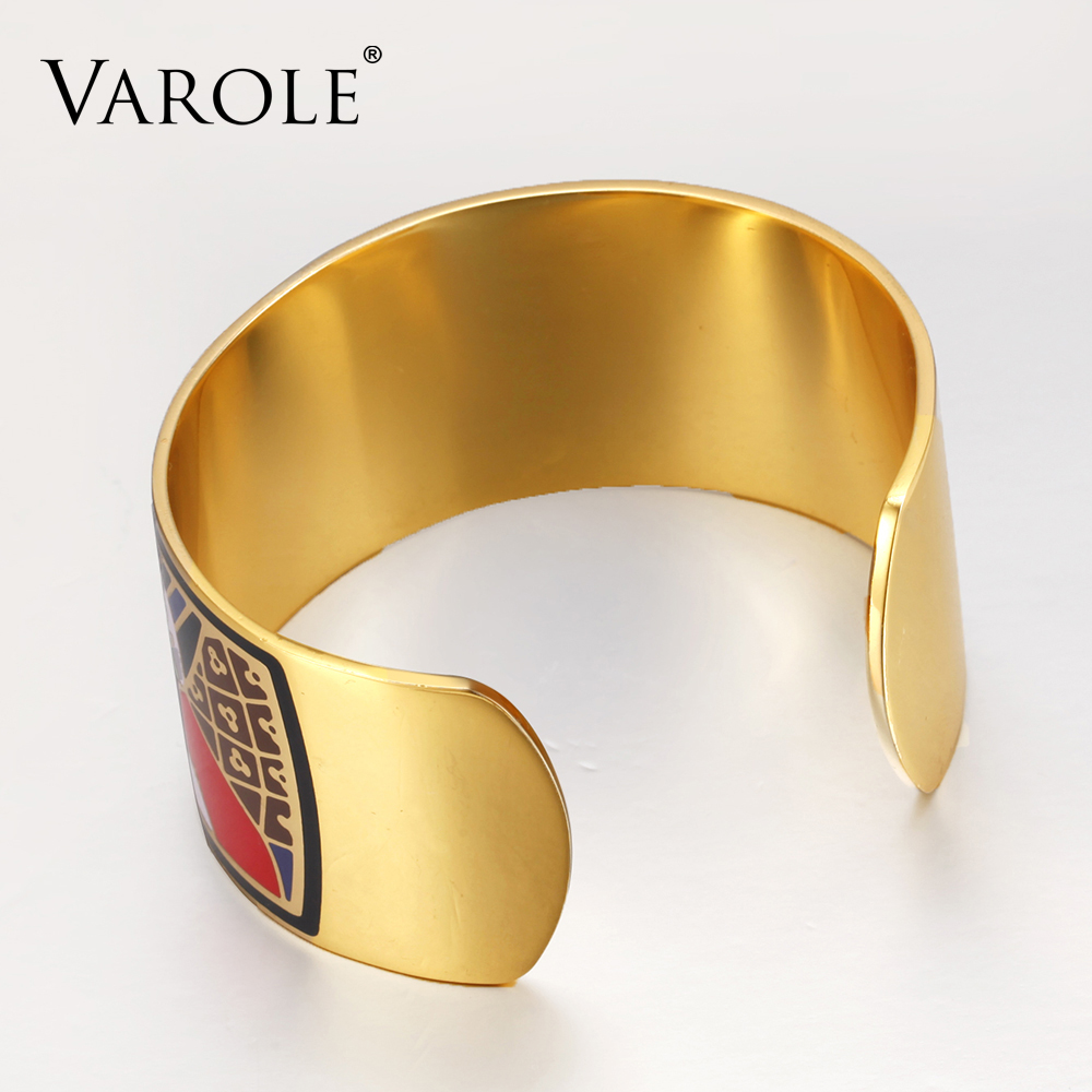 VAROLE Fashion Enamel Opening Bracelets Bangles for Women Colorful Bracelet Cuff Love Pulseiras Feminina Gifts Pulsera in Bangles from Jewelry Accessories