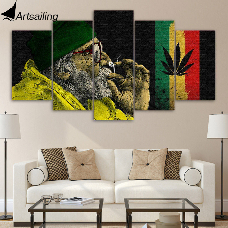 ArtSailing 5 piece canvas art HD print weed with the old man smoking paintings for living room wall free shipping UP-2093A