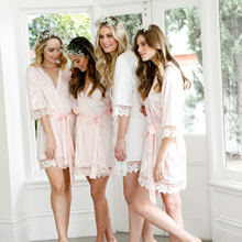 купить Silky Satin Lace Bath Robe Matt Satin Bridesmaid Bride with Lace Robe Bridal Robes Wedding Party Gifts Bathrobe Women Dress New дешево