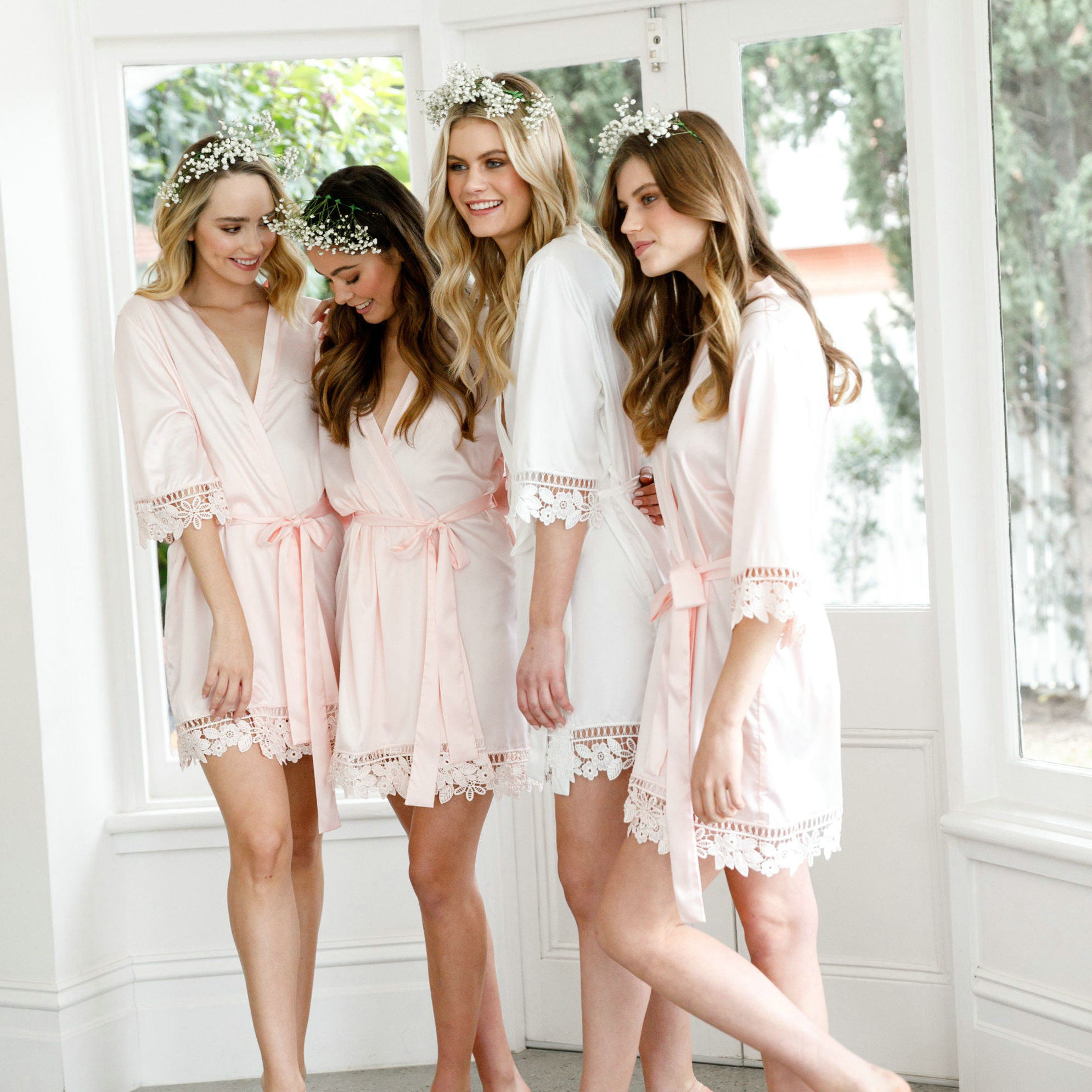 Silky Satin Lace Bath Robe Matt Satin Bridesmaid Bride with Lace Robe Bridal Robes Wedding Party Gifts Bathrobe Women Dress New